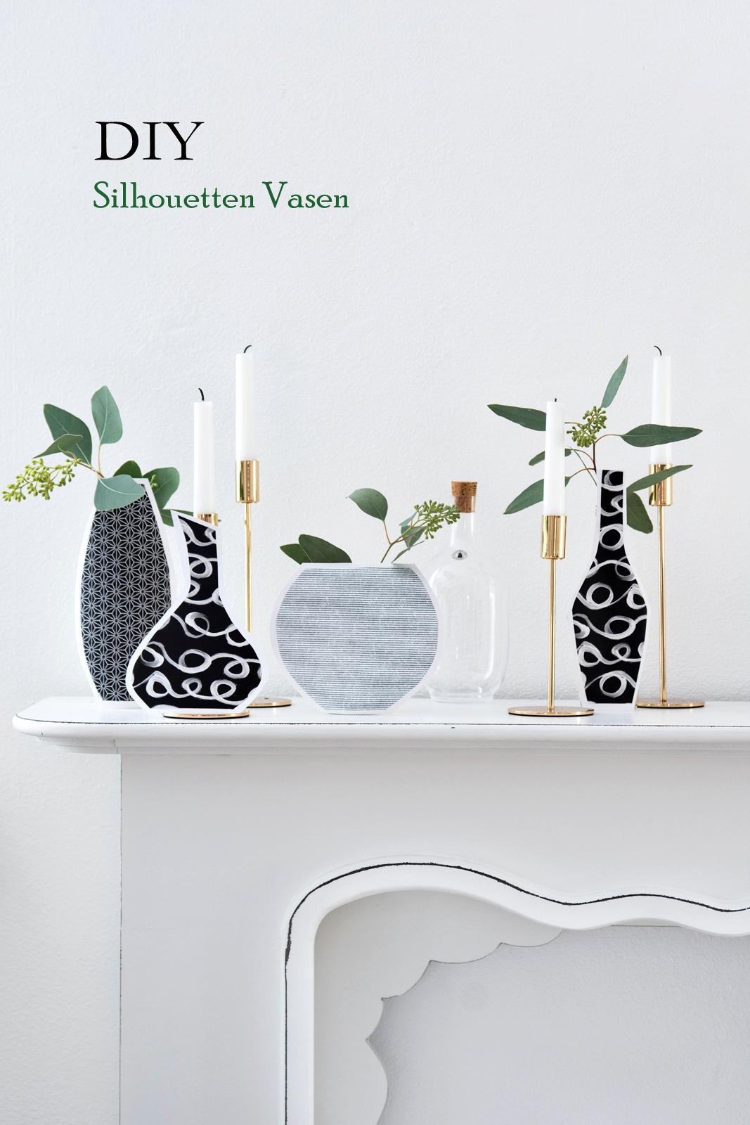 Vasen Silhouetten aus Geschenkpapier basteln