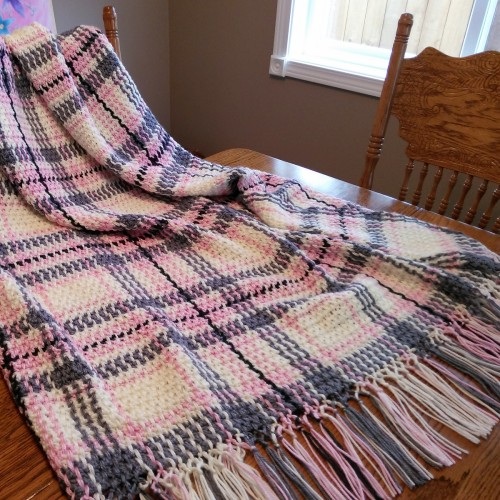 Pink & Grey Plaid Throw - Free Pattern