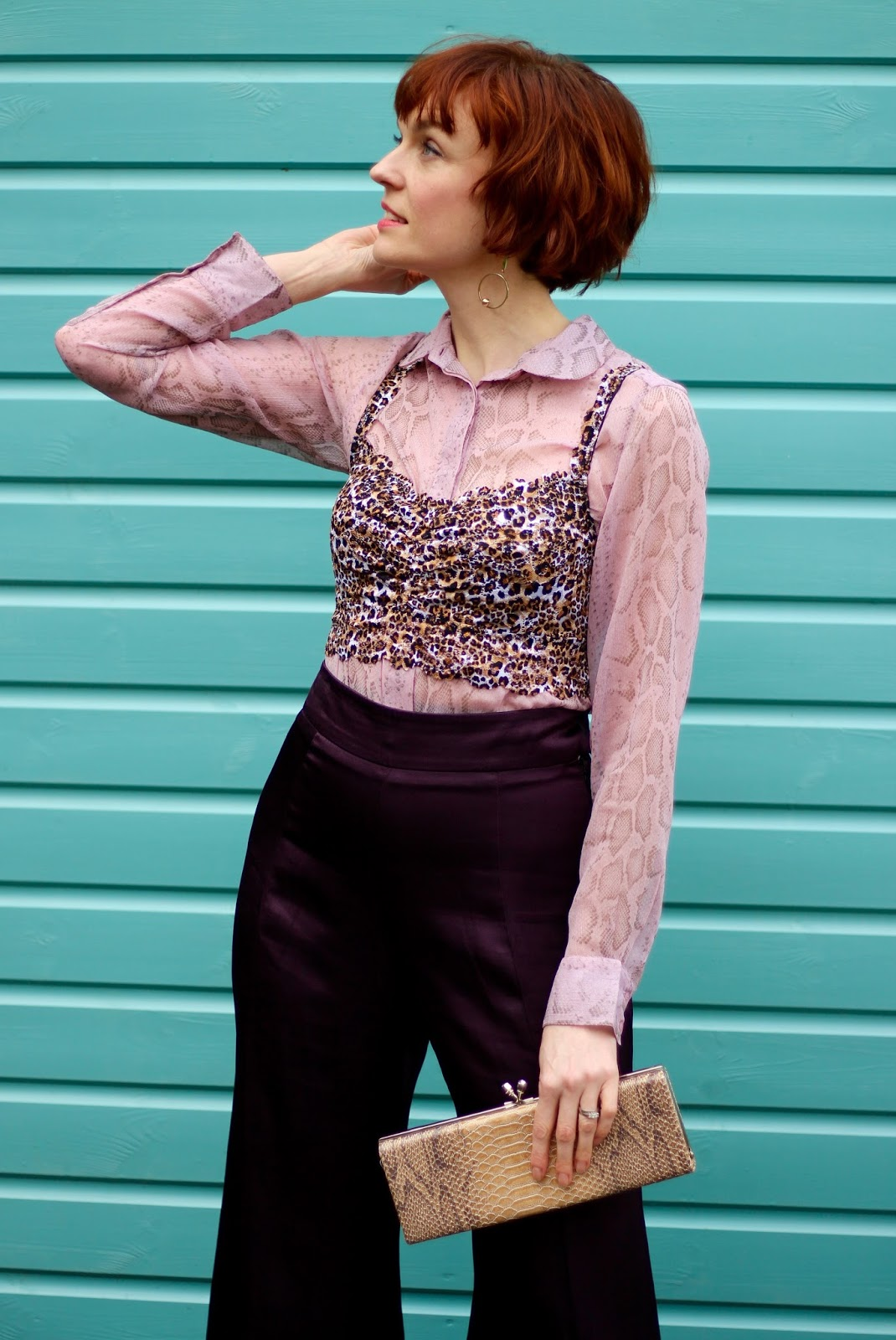 Leopard Lace Bralet over a Chiffon Blouse, Finery Satin trousers | Fake Fabulous