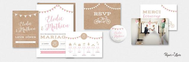Faire-part collection guinguette champetre Paper and Love blog mariage www.unjourmonprinceviendra26.com