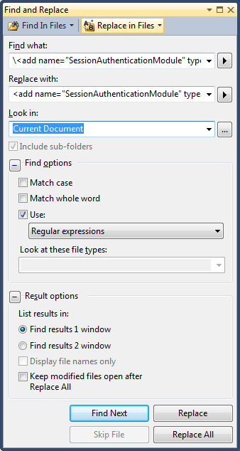 Multiline search and replace in Visual Studio