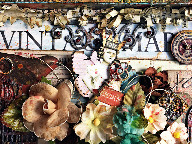 Tim Holtz Wood Vignette Tray by Lisa Novogrodski for Scrap of Darkness using the May Kit Attic Finds