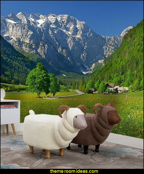 Creative goat shoe stool Solid wood footstool Sofa stool  Ski cabin decorating - ski lodge decor - winter cabin decorating ski resort bedroom ideas - winter wall murals - ski chalet theme bedroom decorating ideas
