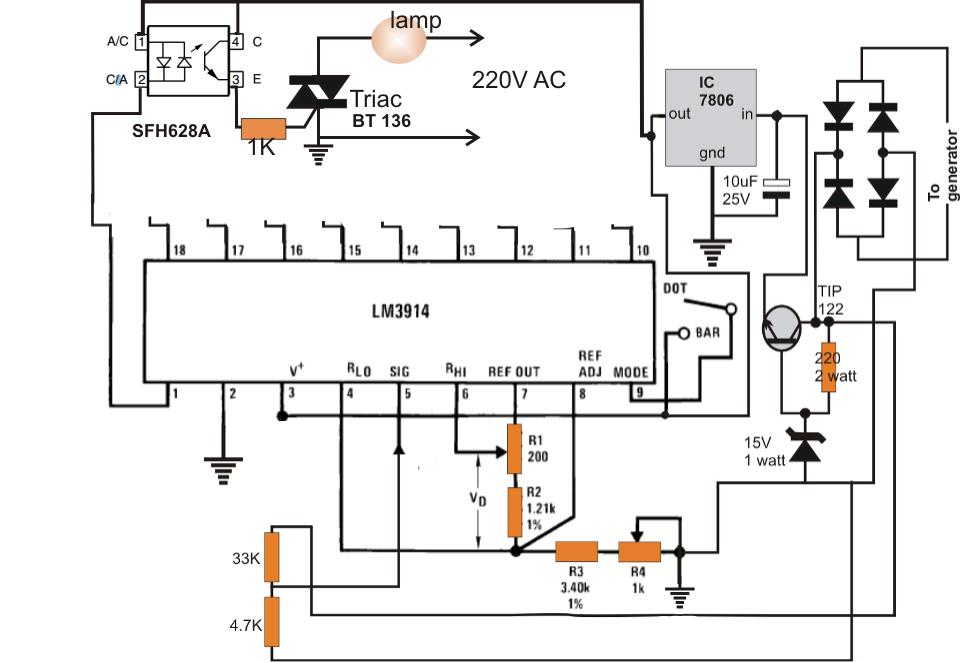 Bike Magneto Generator to 220V Converter Circuit