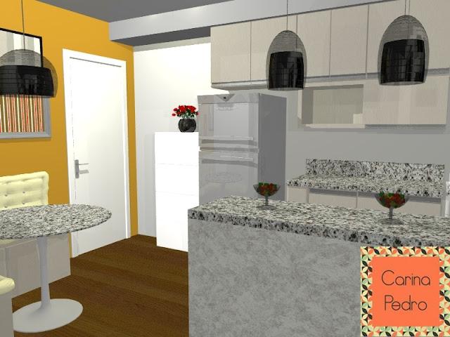 Projeto de Carina Pedro em 3D da cozinha, sala de jantar e sala de estar