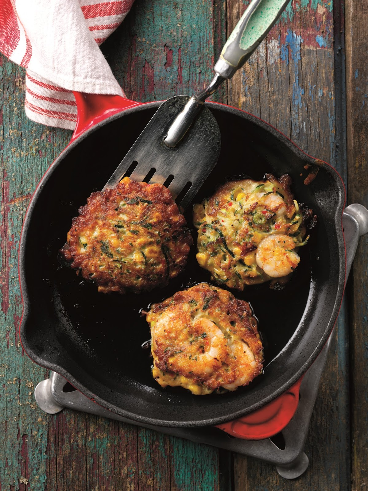 Prawn Courgetti And Sweetcorn Fritters