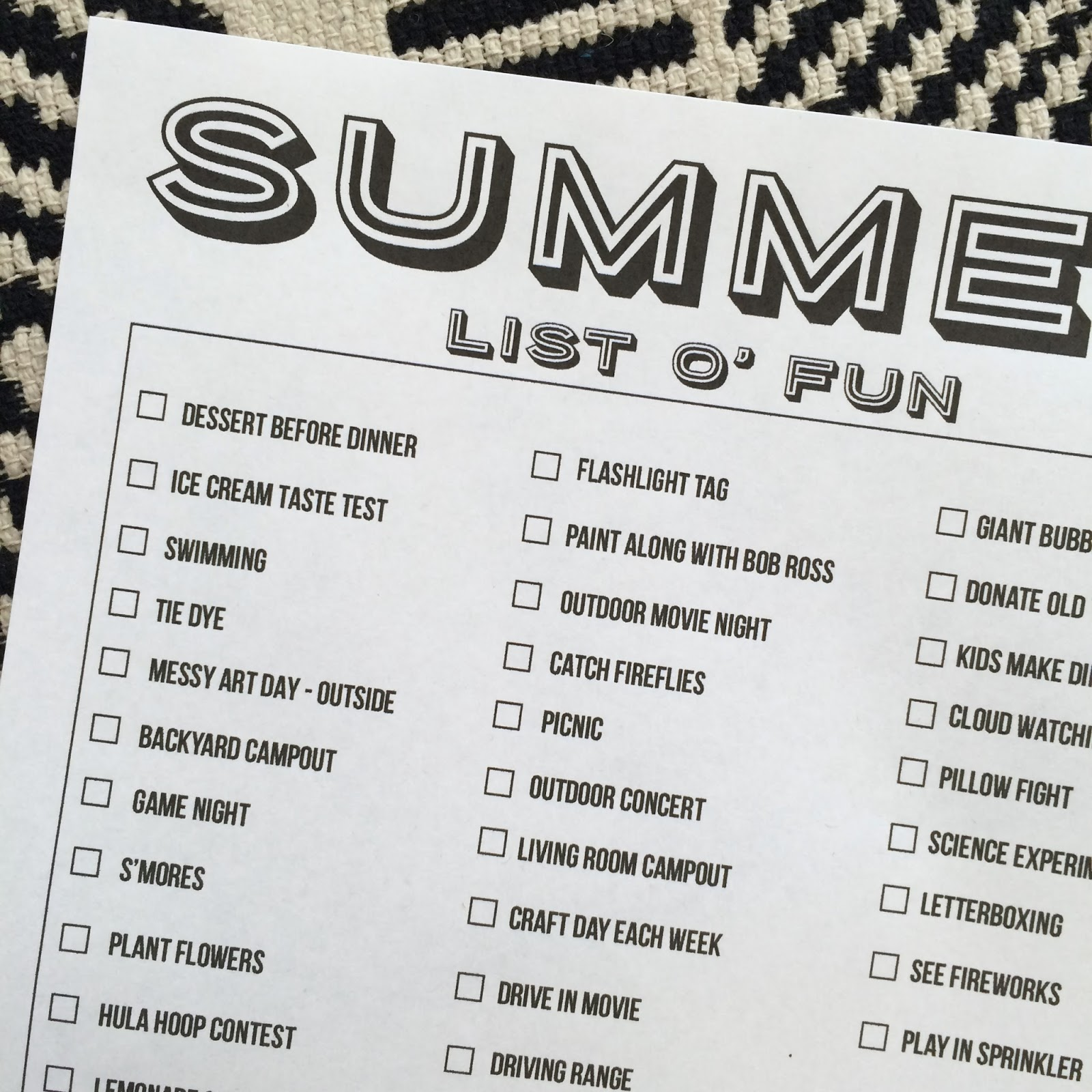 Printable Summer Bucket Lists 2016