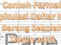 Contoh Format Rekapitulasi Daftar Mutasi Barang Sekolah Tahun 2016 dengan Microsoft Excel