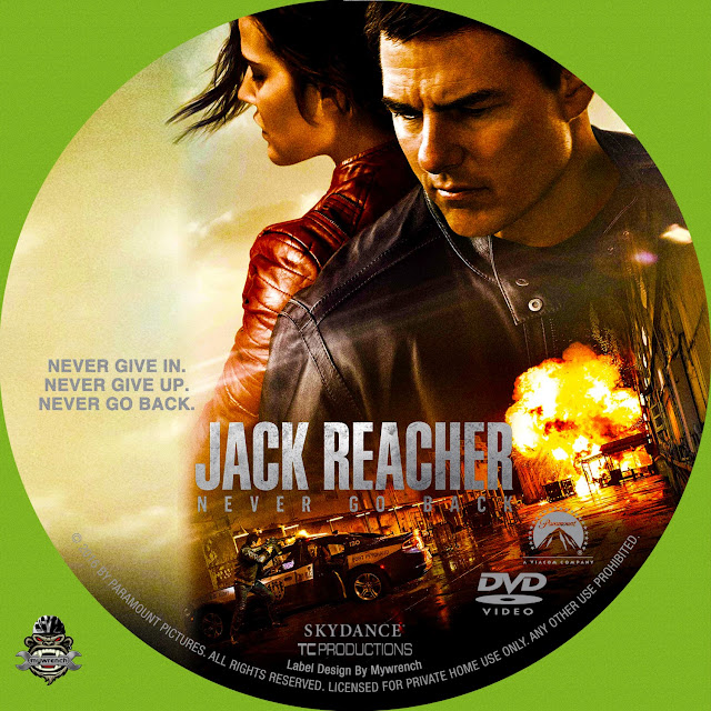 Jack Reacher Never Go Back DVD Label