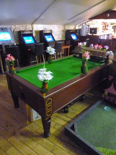 Hole 5 of the Plonk Golf course at Efes Snooker Hall in Dalston, London involved a pool table
