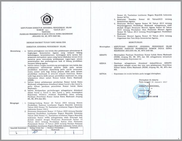 Pedoman Penerbitan dan Penulisan NISM (Nomor Induk Siswa Madrasah) RA, MI, MTs, dan MA