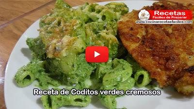 Una rica y deliciosa receta de pasta Coditos verdes cremoso, muy nutritivos práctico y fácil de preparar.