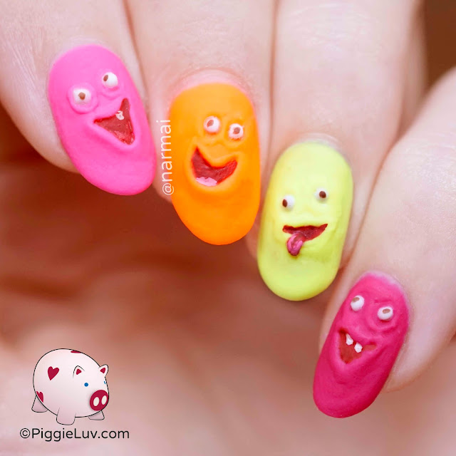 PiggieLuv: Funny faces nail art