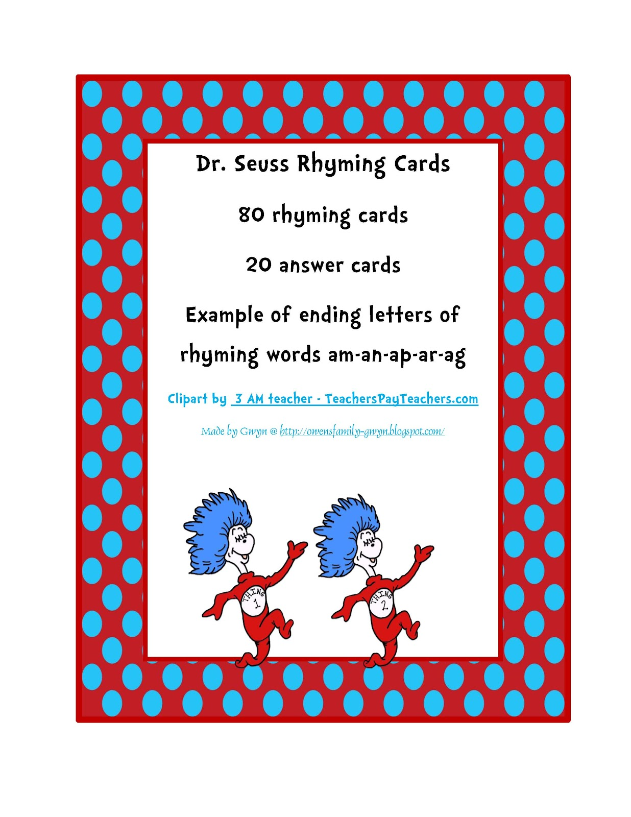 Dr Seuss Rhyming Cards