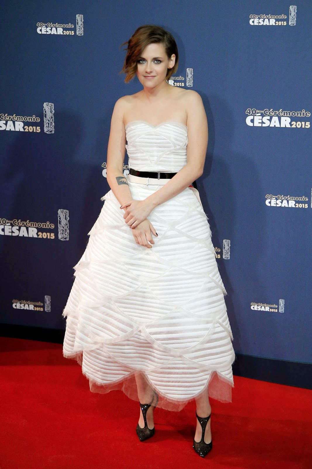 Kristen Stewart in a strapless Chanel Couture dress at the 40th Cesar Awards in Paris