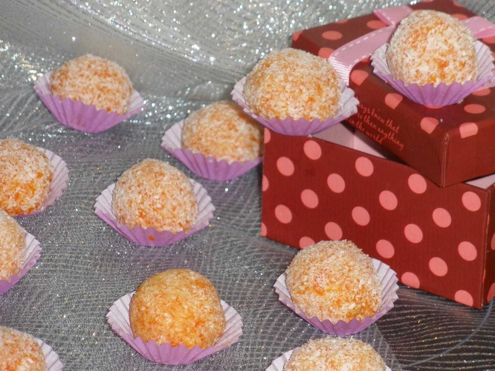 YEMAS DE ZANAHORIA Y COCO  Un bocadito dulce que puedes dejar preparado el día anterior y sorprenderá a todos.