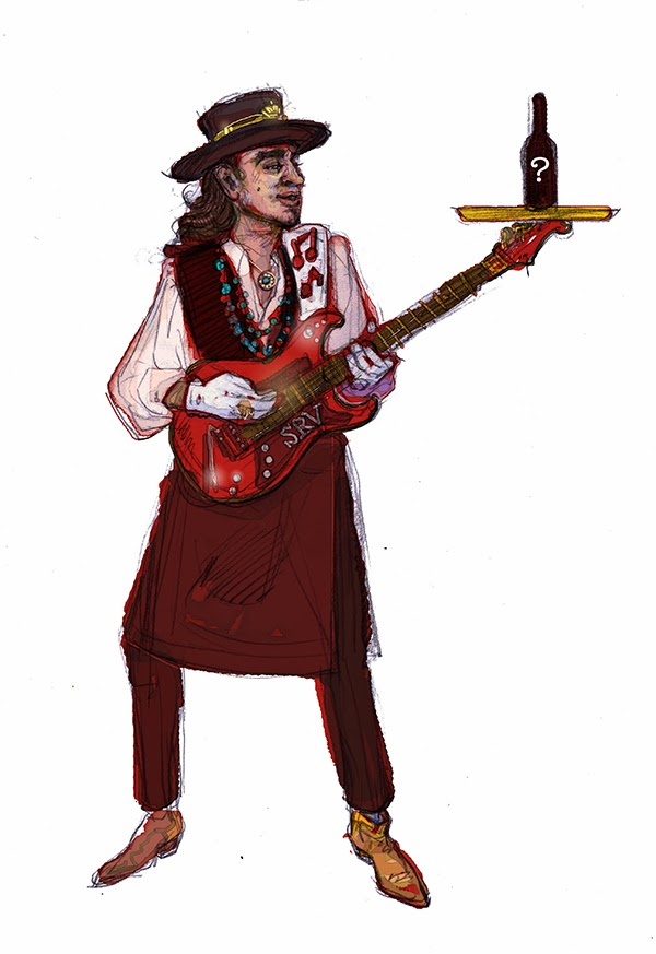 Stevie Ray Vaughan, editorial fashion illustration, portrait drawn by Ben Liu