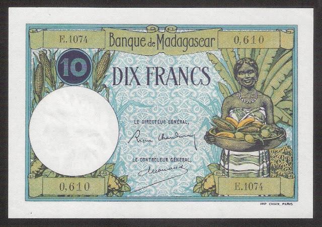 Madagascar 10 Francs Banknote