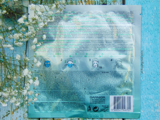 Garnier MOISTURE+Freshness, Maska kompres 'super nawilżenie i oczyszczenie'