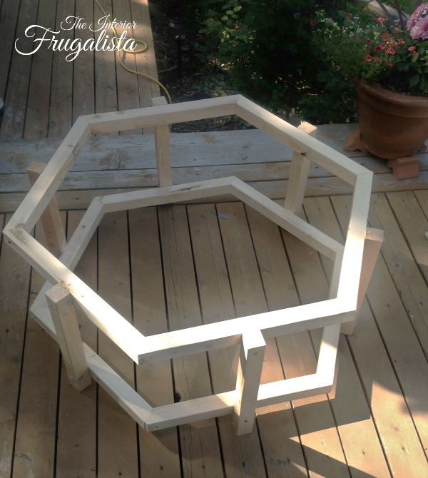 Constructing the hexagon frame for an Adirondack Fire Bowl Table