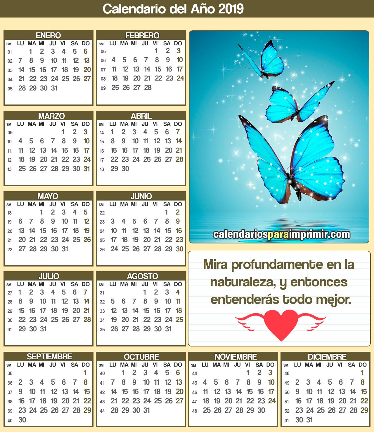 calendarios 2019 para imprimir dedicatorias vida