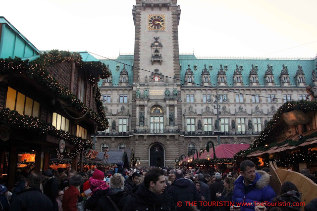 Historical Christmas Market Town Hall Hamburg Germany
