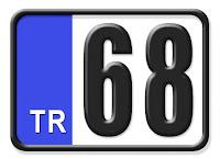 Aksaray ilinin plakası olan 68 kodunu gösteren küçük plaka