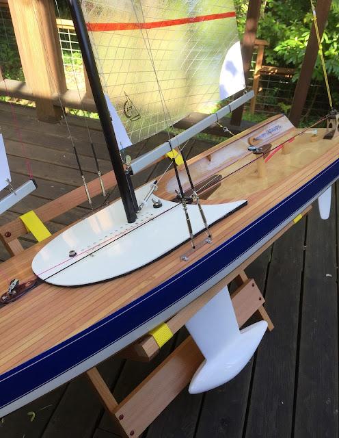 RC sailboat beautiful wood art