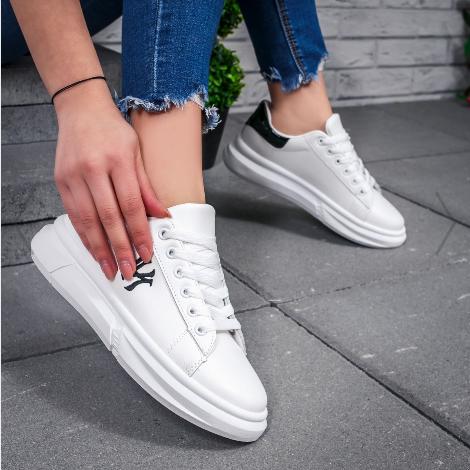 Pantofi sport dama albi moderni cu talpa groasa 2020 la reducere
