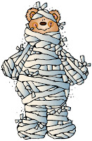 Bear wrapped as mummy