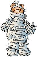 Bear wrapped as mummy