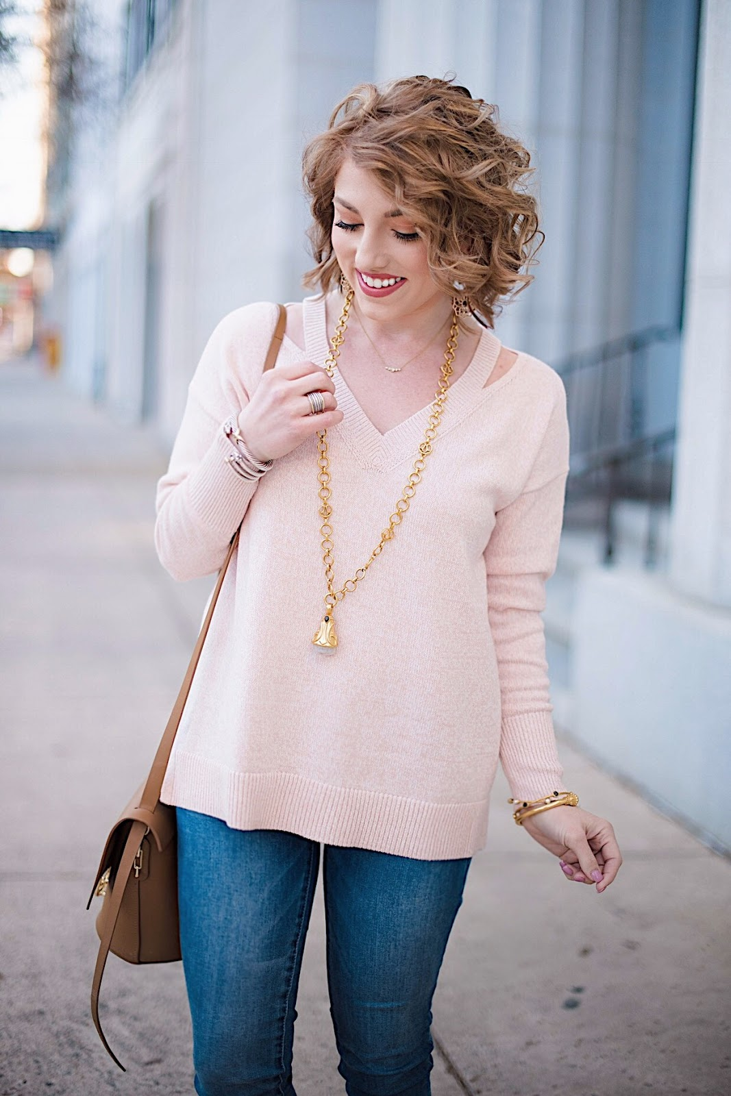 Loft Cutout V-Neck Sweater - Something Delightful Blog