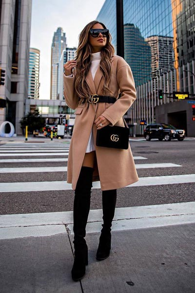 19 Stylish Fall Outfits to Copy in 2018 | Longline Coat + Knit Turtleneck Sweater + Steve Madden Over the knee Shoes