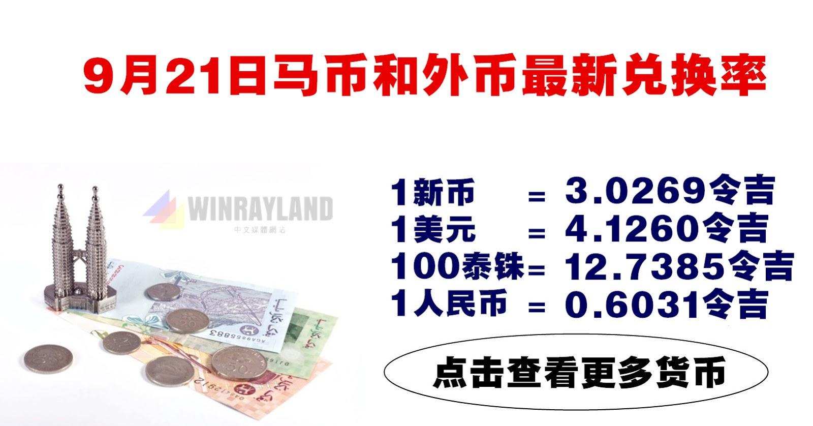 9月21日马币和外币最新兑换率