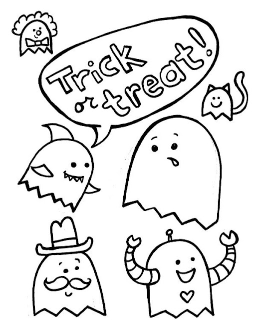 free printable Halloween trick or treat black and white pictures