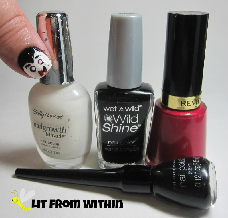 Bottle shot:  Sally Hansen/Revlon white, Wet 'n Wild Black Creme, and Revlon Cherries In The Snow