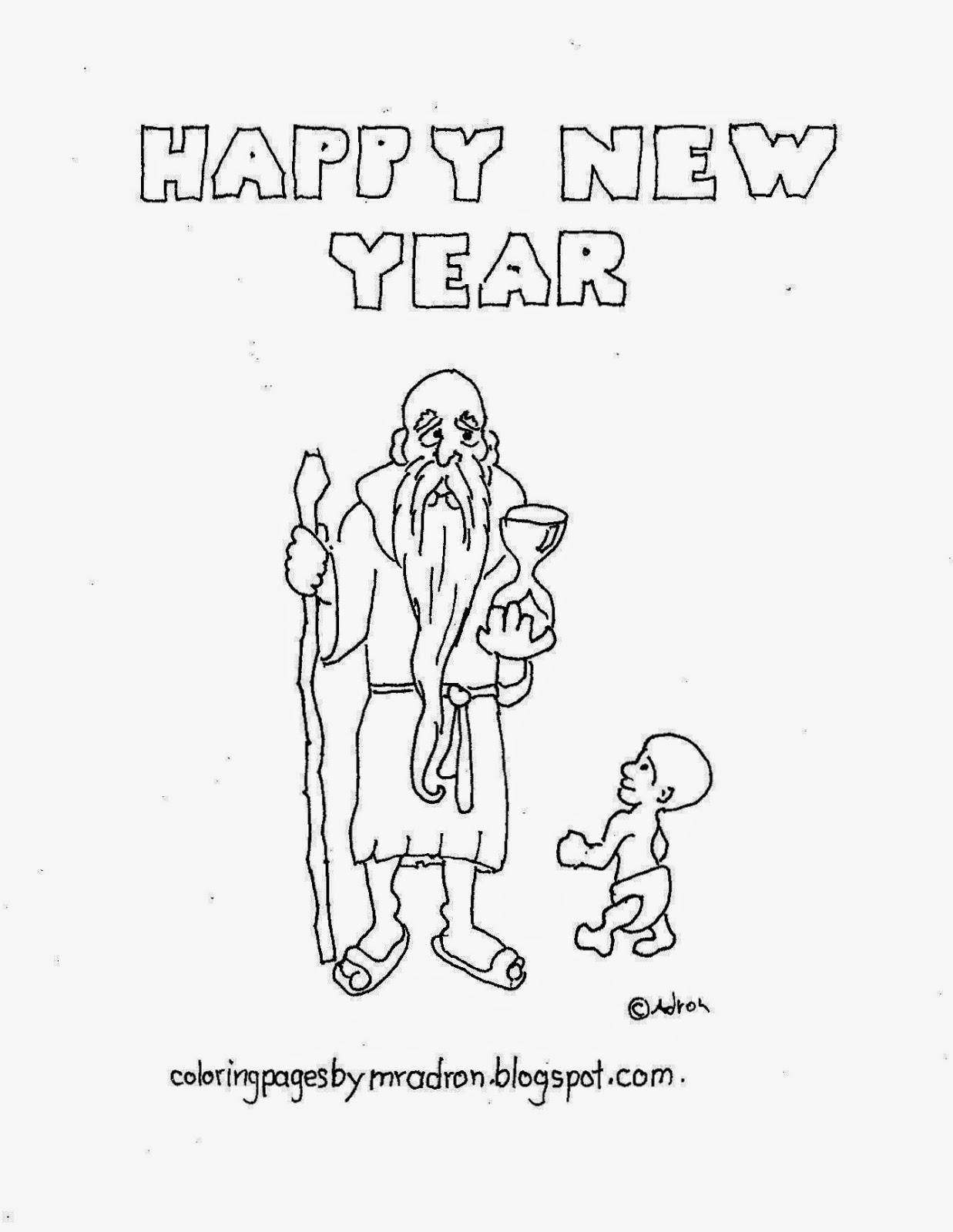Coloring Pages For Kids By Mr Adron Father Time Happy New Year Printable Picture To Color