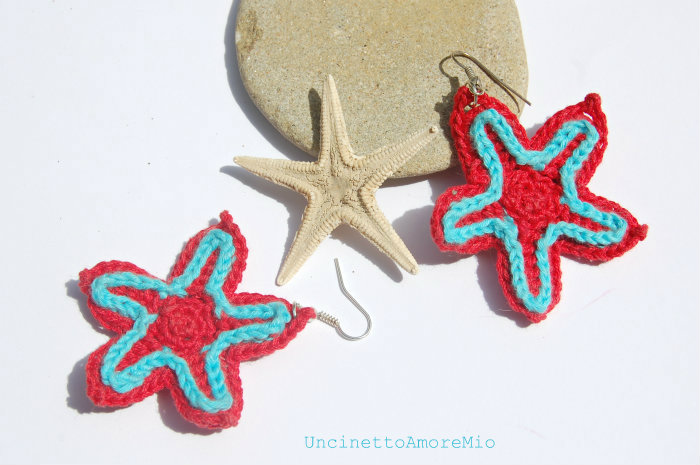 orecchini rosso e  turchese stella
