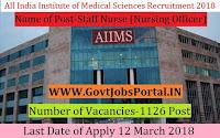All India Institute of Medical Sciences Rishikesh Recruitment 2018 – 1126 Staff Nurse (Nursing Officer)