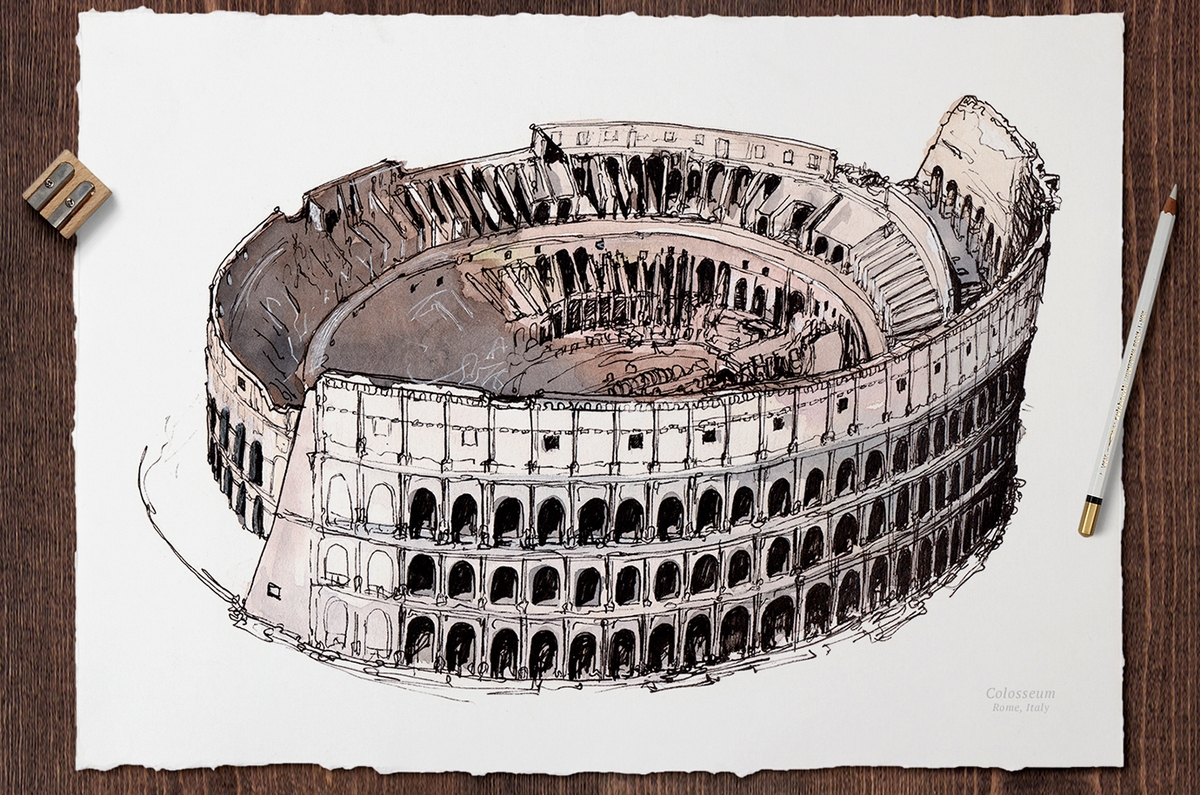 01-Colosseum-Rome-Italy-Mucahit-Gayiran-Architectural-Landmarks-Mixed-Media-Art-Part-2-www-designstack-co