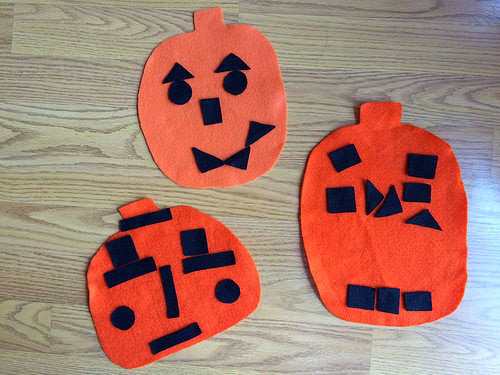 halloween craft, felt jack-o-lanterns