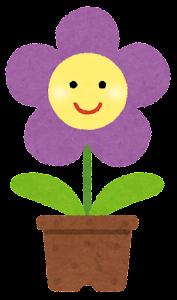 鉢植の花のキャラクター(紫)