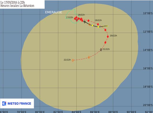 Trajectoire et intensité prévues pour le cyclone tropical Emeraude