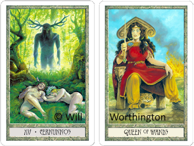 Druidcraft Tarot Cernunnos The Devil Queen of Wands Will Worthington blog blogger