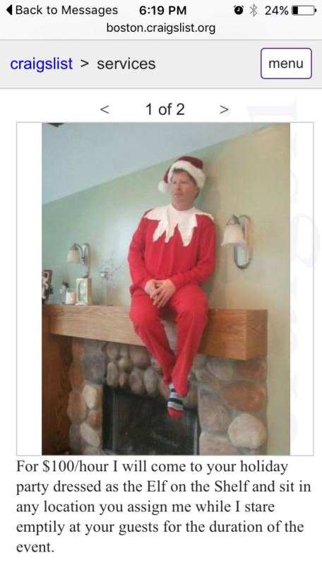 Funny Craigs List Christmas Shelf Elf Service Picture