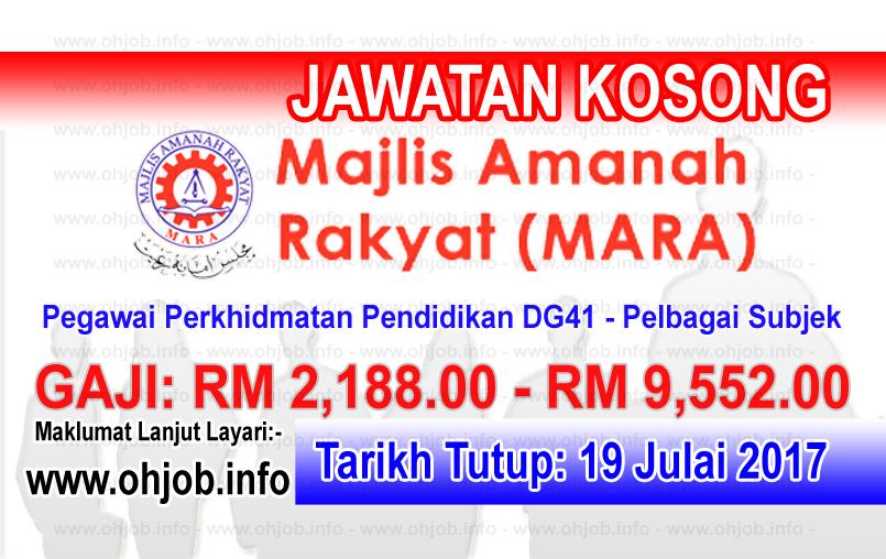 Jawatan Kerja Kosong Majlis Amanah Rakyat - MARA logo www.ohjob.info julai 2017