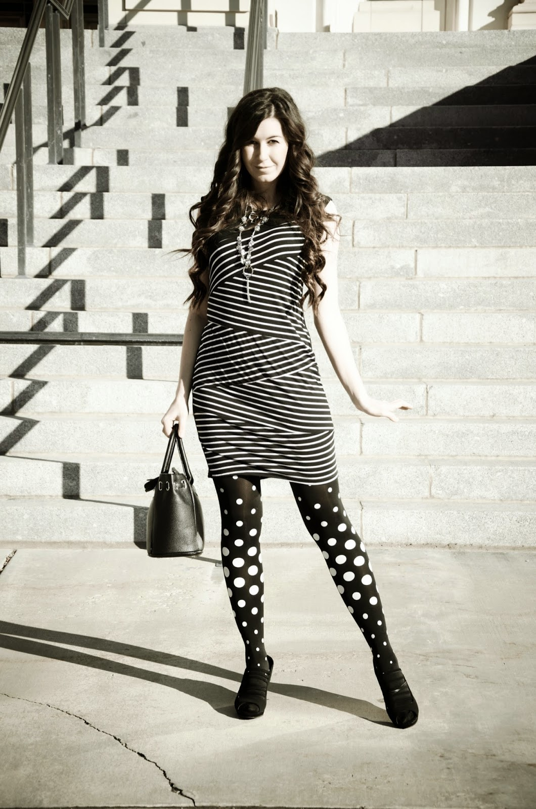 polka dots and stripes, polka dot tights, zig zag dress, black and white, black and white dress, black and white tights, striped dress with polka dot tights outfit, polka dot outfit, wedges,