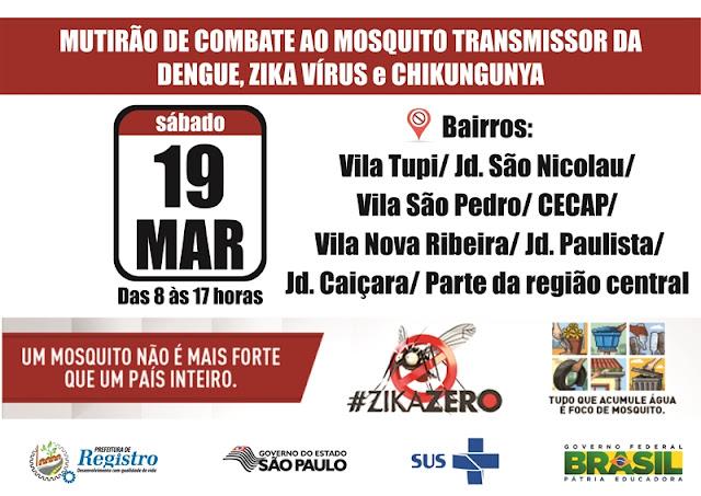 Mutirão contra o Aedes aegypti atenderá mais 8 bairros de Registro-SP