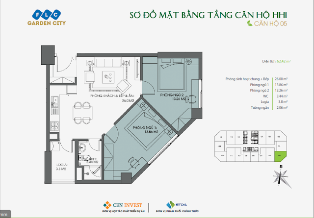 Thiết kế căn hộ 05, dt 62m, tòa HH1 FLC Garden City