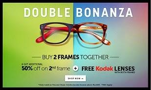 Buy 2 Frames together & Get 50% Off on 2nd Frame + Free Kodak Lenses worth Rs.2290 for both Frames @ Lenskart